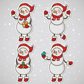 Stickers with Snowman, set, vector. — Stock Vector