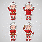 Stickers with Mrs Claus, set, vector. — Stock Vector