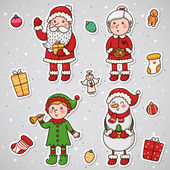 Stickers with Christmas and New year characters, set, vector. — Stock Vector