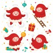 Christmas Elves, set, vector. — Stock Vector #58410017