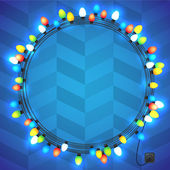 Christmas and New year light garlands like frame on a blue background, herringbone pattern, vector. — 图库矢量图片