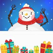 Cute Snowman with gifts and blank horizontal banner, vector. — Stock Vector