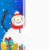Cute Snowman with gifts and blank vertical banner, vector. — Stock Vector