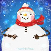 Happy New Year card with Snowman, vector. — Stock Vector