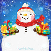 Happy New Year card with Snowman and gifts, vector. — Stock Vector