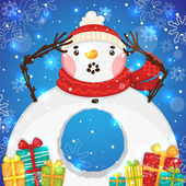Cute Snowman with gifts, vector. — Stock Vector