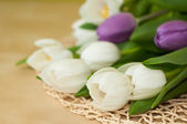 White and violet tulips on the table — Stockfoto