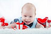 Little beautiful boy in bow tie — Stock Photo