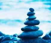 Stack of Round Smooth Zen Rocks — Stock Photo
