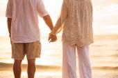 Mature Couple Holding Hands Enjoying at Sunset — Foto de Stock