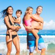 Happy Mixed Race Family on the Beach — Stock Photo #54336121