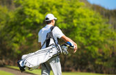 Golfer Walking with Bag — Stock Photo