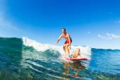 Father and Son Surfing, Riding Wave Together — Stockfoto