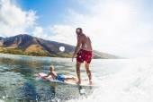 Father and Son Surfing, Riding Wave Together — Stock Photo