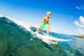 Boy Surfing Ocean Wave — Stock Photo