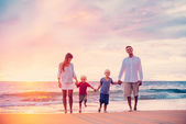 Portrait of Family on the Beach at Sunset — Stock Photo