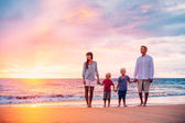 Portrait of Family on the Beach at Sunset — Стоковое фото