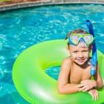 Young Kid Having Fun in the Swimming Pool — Stock Photo #59845931