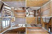 Ecological Wooden House.3d Collage. — Stock Photo