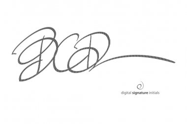 Abstract, fictitious, digital signature icon protected with encryption technology. vector initials autograph, legal concept