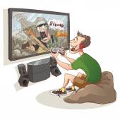 Gamer boy are playing first person shooter video game — Stock Vector