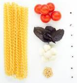 Pasta with mozzarella — Stockfoto