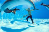 On the bottom of the dolphinarium — Stock Photo