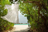 Wedding dress hanging — Stock Photo