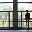 Elegant young ballerina standing near a large window in a dance  — Zdjęcie stockowe #62640365