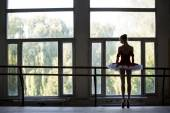 Elegant young ballerina standing near a large window in a dance — Stock Photo