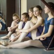 Five young dancers in the same dance costumes, resting sitting o — Stock Photo #63251469