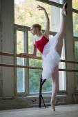 Young ballerina standing on one leg on your toes in pointe and d — Stock Photo