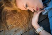 Profile fashion portrait of strict red-haired girl — Fotografia Stock