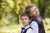 Young male teenagers  in the park. — Stock Photo
