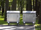 Metal garbage cans — Stock Photo