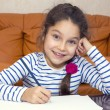 Girl draw with crayons on paper — Stock Photo #54240137