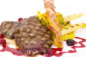 Steak with asparagus and salad — Stock Photo