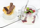 Raspberry cream dessert — Stock Photo