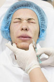 Cosmetic treatment with injection — Stock Photo