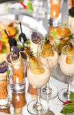 Canapes of cheese, meat and seafood — Stok fotoğraf