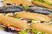 Black and classic sandwiches — Stock Photo