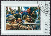 Conquest of Siberia by Yermak stamp — Stock Photo