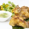 Chicken in curry with salad — Stock Photo #70199253