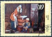 Stamp of paintings by famous artists — Stock Photo