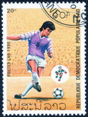 Stamp with soccer player — Stock Photo