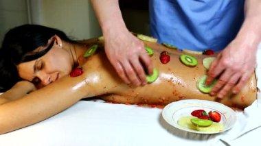 Woman getting fruit massage — Stock Video