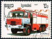 Stamp with Fire truck — Stock Photo