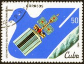 Printed stamp with satellite — Stock Photo