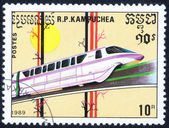 Stamp printed in Kampuchea showing train — Foto Stock