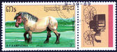 Stamp, Republic of Kampuchea  shows horse — Stock Photo